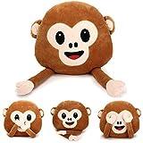 Bazaar 35cm créatif singe emoji avec les mains Jeté en peluche oreiller peluche coussin bureau maison canapé décoration