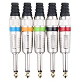 Pronomic Steckerset 6,3mm Klinke 5-Stück (zur Kabelkonfektionierung, Montage, Hochwertige Spannzangen-Zugentlastung, stabiles Druckguss-Gehäuse) farbig