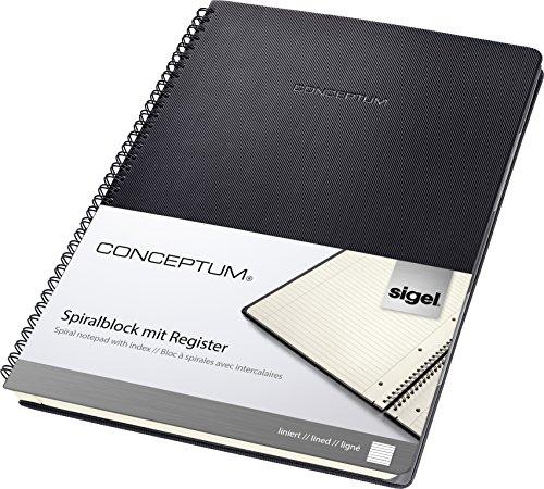 Sigel CO841 Blocco spiralato con rubrica CONCEPTUM, copertina rigida, 160 pagine a righe, circa A4, nero