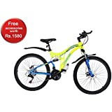 Mitras Maverick 26 inches (Green) 21 Speed Shimano Gears - Dual Suspension Mountain Cycle for Kids (11-18 Years)