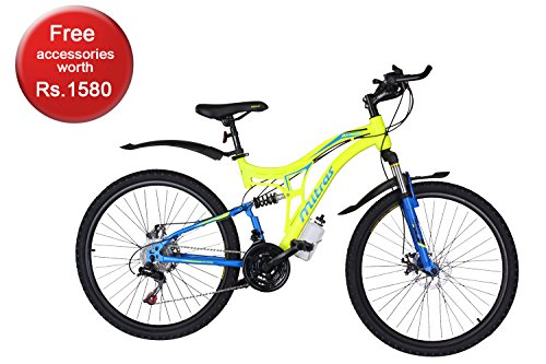 Mitras Maverick 26 Inches 21 Speed Shimano Gears Dual Suspension Mountain Cycle For Kids (11-18 Years)- Green