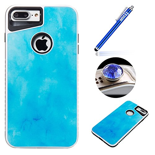 iPhone 7 Plus Custoida in Silicone,iPhone 7 Plus Cover Trasparente,Etsue[Tpu+Pc]Ultra Slim Sottile Soft Tpu Case Corpeture Custodia per iPhone 7 Plus,Morbida Gel Protettiva Case Cover Creativo ELegant blu*