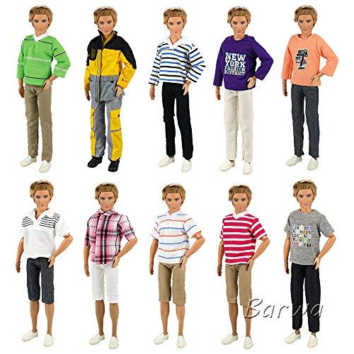 Miunana 5 Fashionista Trajes de Ropas Casual Abrigo Chaqueta Pantalones con Manga Larga y Corto para Ken Muñeco Novio Príncipe Barbie Doll - Enviar Aleatoriamente