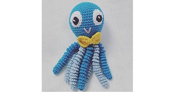 Octopus Amigurumi Für Neugeborene In Blau Mit Gelben Fliege