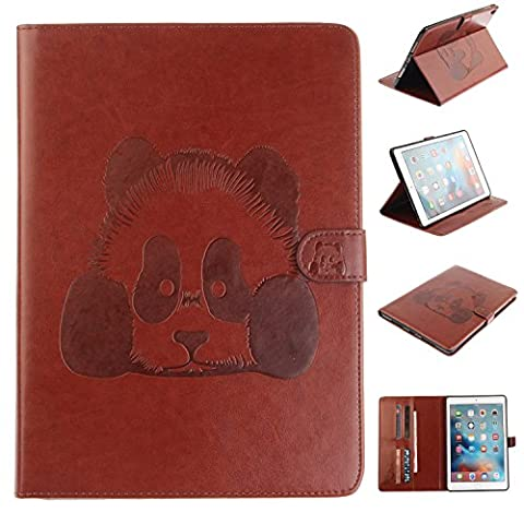 Ecoway Panda embossed pattern PU Leather Stand Function Protective Cases Covers with Card Slot Holder Wallet Book Design for iPad Pro 9.7 Zoll 2016 - Brown