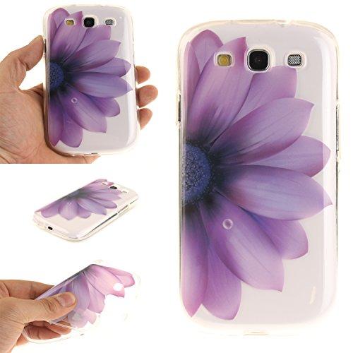 Hülle für Samsung Galaxy S III i9300 / S3 Smartphone Gemalt Schutzhülle Cover-Lila Halb Blume ()