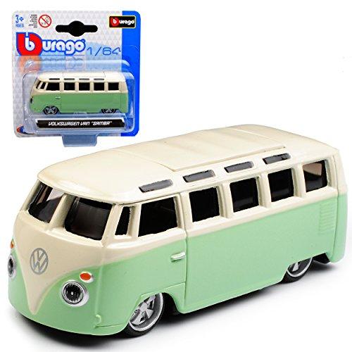 alles-meine.de GmbH VW Volkswagen T1 Grün Beige Samba Bully Bus 1950-1967 1/64 Bburago Modell Auto mit individiuellem Wunschkennzeichen