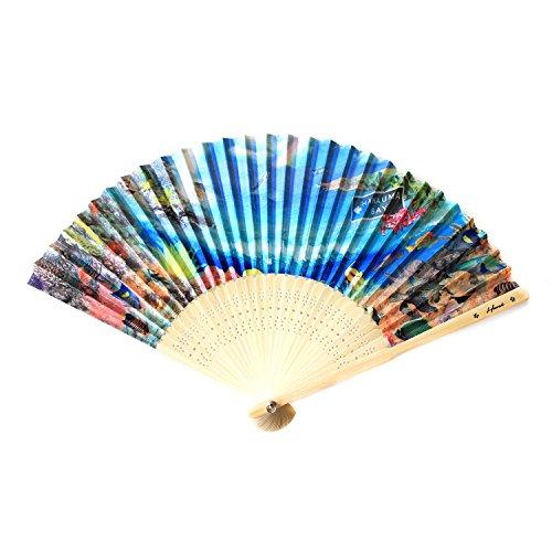 Bay-muster (Hawaii Luau Handfächer, für Hochzeiten, aus Stoff und Holz, faltbar, Verschiedene Muster, Hanauma Bay, 2er-Pack)
