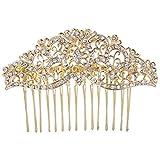 EVER FAITH® Gold-Tone Austrian Crystal Wedding Wave Floral Vine Hair Comb Clear N05404-2