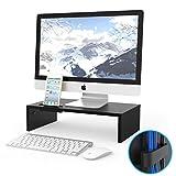1home Supporto del legno tavola nera per monitore altoparlante del TV PC e computer portatile