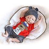 Decdeal NPK Reborn Baby Puppe mit Voll Silikonkörper Augen Schließen 22 inch Junge