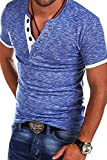 MT Styles V-Neck Buttons T-Shirt Polo BS-544 [Blau, L]