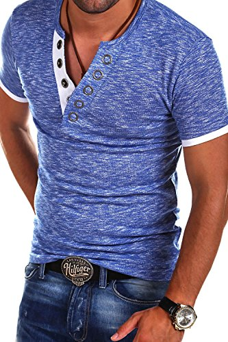 MT Styles V-Neck Buttons T-Shirt Polo BS-544 [Blau, M]