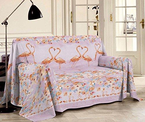 Centesimo web shop telo arredo copritutto in 2 misure prodotto in italia gran foulard multiuso telo tuttofare copridivano - fantasia flamingo classico fiori fenicotteri - tre posti rosa