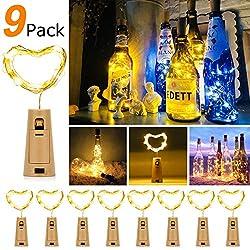 9x 20 LED Flaschen-Licht Warmweiß Weinflasche Flaschenlicht, 27pcs Kostenlose Batterien Romantische Deko Lichterketten [Energieklasse A+++]Weihnachten Halloween Christmas Party Geschenk