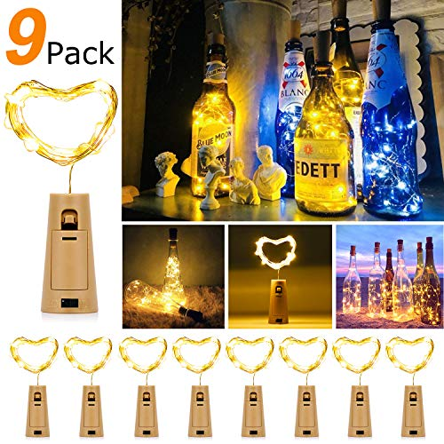 9x 20 LED Flaschen-Licht Warmweiß Weinflasche Flaschenlicht, 27pcs Kostenlose Batterien Romantische Deko Lichterketten [Energieklasse A+++]Weihnachten Halloween Christmas Party Geschenk (Für Party-ideen Christmas Kinder)