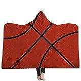 DOTBUY Decke Mit Kapuze Kuscheldecke, Plüschdecke Pelzdecke Decken mit Hoodie 3D Print Design für Erwachsene Kind Couch Sofa oder Bett Couchdecke Mikrofaser (200 x 150cm, A Basketball)