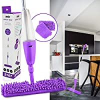 ANSIO Spray Floor Mop with Microfiber Pad *** Lifetime Replacement Guarantee*** (Machine Washable) & Refillable Bottle. Suitable for Wooden, Vinyl, Marble & Tiles Floors - Purple