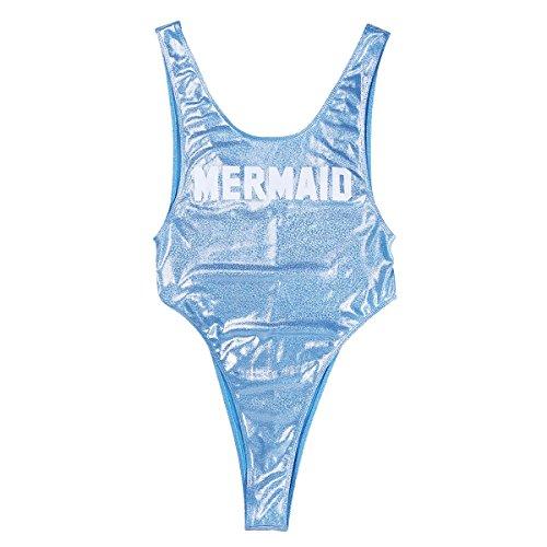 Tiaobug Damen Hellblau Einteiler Badeanzug hoher Beinausschnitt mit Mermaid Aufdruck Figurbetont Glitzer Monokini modische Bademode Stand Badekleidung Swimmanzug
