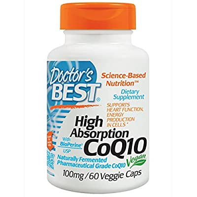 Doctor's Best High Absorption CoQ10 with BioPerine 100mg, 60 Veggie Capsules by Doctor's Best