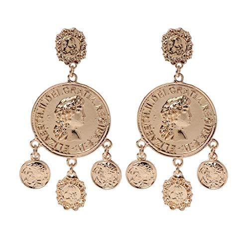 ZOOMY Goldene Münze Anhänger Big Hoop Bauchtanz Zigeuner Ohrringe