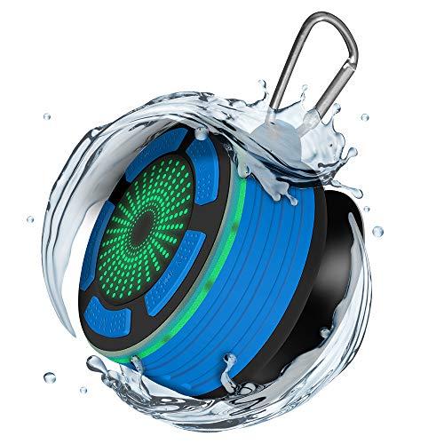 Alitoo Altavoz Bluetooth portátil Altavoz inalámbrico para baño Bluetooth, micrófono Incorporado, Resistente al Agua, para TV, computadora, teléfono Inteligente, Más (Azul)