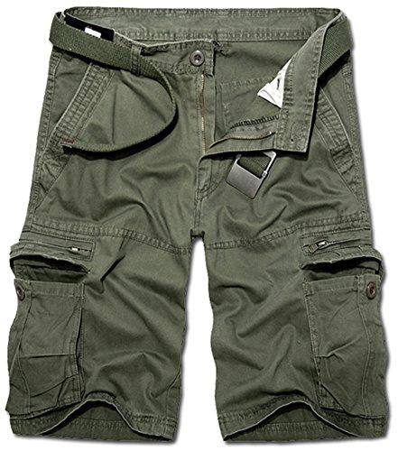 Mochoose Homme Pantalons Courts Coton de L'été Vintage Cargo Travail Casual 1/2 Shorts Multi Pockets Sport et Loisir(Armée Verte,34)