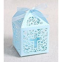 Veewon 50pezzi Hollow Cross Style laser Cut wedding favor dolci scatole regalo con nastri per matrimonio, compleanno e Baby shower party Blue
