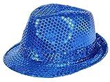 Alsino Glitzer Pailletten Hut Fasching Jga Partyhut (Th-59), Farbe: blau, Kopfumfang: 58 cm Trilby Bogart