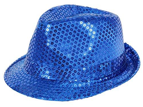 Clubstyle Partyhut Trilby Hut Blink Fedora Bogart Glitzerhut Glitter, Farbe wählen:TH-59 blau