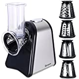 from Homdox Homdox Electric Salad Maker Food Grater Slicer with 5 Cone Blades, 150W - Black/Silver