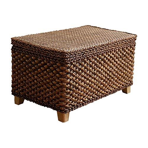 YIDIAN Rattan-Stroh-Speicher-Schemel-faltender Schuh-Bank-Fußlehne-Sofa-Schemel-Bank-Kasten kann Leute sitzen (größe : 50 * 30 * 30cm)