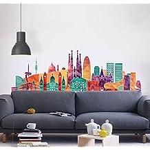 MYVINILO - Vinilo decorativo - La bella Barcelona / Impresión (100x31cm)