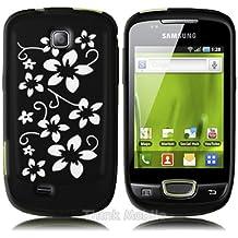 Negro Flora Silicona Case Para Samsung Galaxy Mini S5570