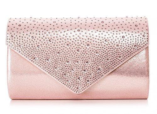 VINCENT PEREZ Damen Clutch Abendtasche Unterarmtasche Umhängetasche mit Strass-Steinen und abnehmbarer Kette in den Farben Silber Gold Altrosa (120 cm), 22 x 13 x 5,5 cm (B x H x T), Farbe:Altrosa (Rosa Und Gold Handtasche)