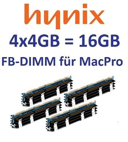 HYNIX original 4 x 4GB = 16GB Kit 240 pin FB-DIMM DDR2-800 PC2-6400 CL6 128Mx4x36 double side (HYMP151A72CP4D3-S6) für MacPro Systeme 1,1 2,1 3,1 (Baujahre 2006 bis 2008) (667 Fb Dimm Kit)