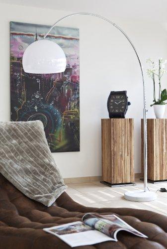 Steh-Lampe weiß mit Dimmer und Fuß aus Marmor 213x165 cm | Big Mess | Steh-Leuchte höhenverstellbar mit verchromten Metall | Bogen-Lampe für Wohnzimmer 213cm x 165cm - 3