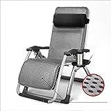 Klappstuhl XIAOYAN Schwarz Recliner Edelstahl + Hochwertiger Stoff Lounge Sessel Grau (Farbe : Gray)