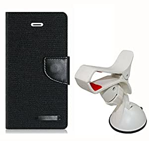 Aart Fancy Wallet Dairy Jeans Flip Case Cover for Blackberry9300 (Black) + Mobile Holder Mount Bracket Holder Stand 360 Degree Rotating (WHITE) by Aart Store