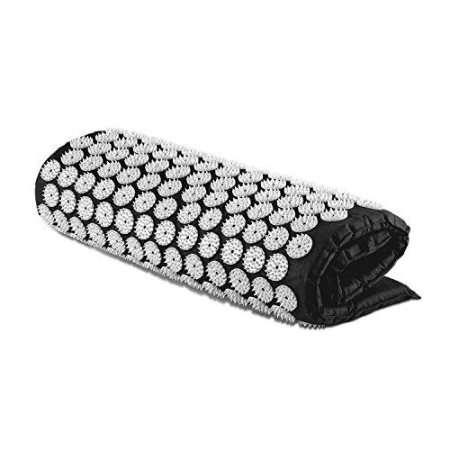 Capital Sports Repose Esterilla yantra para masaje y acupresión (Colchón 80x50cm, 275 círculos de 33 púas ABS, 9075 puntos de acu presión para estimular y mejorar circulación, relleno de espuma, alfombrilla negra)