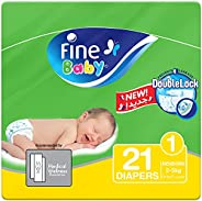 Fine Baby Diapers, DoubleLock Technology , Size 1, Newborn. 21 diaper count