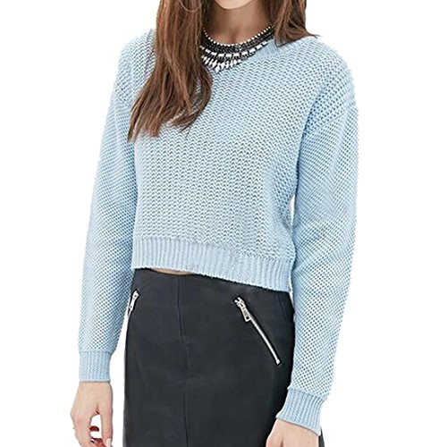 QIYUN.Z Fashion Style Doux School Girls Femmes Baisse Epaule Manches Courtes Chemises Pull Bleu