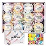 Chucalyn Bombes de Bain Kit de 12 Boules de Bain Multicolores pour Homme Femme Enfant Bath Bombs Relaxant et Bouillonnant Coffret Bain Moussant aux Huiles Essentielles