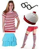 Déguisement T-shirt rayé en rouge et blanc avec lunettes et chapeau pour filles et femmes -  rouge - 50