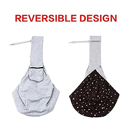 OHANA Pet Reversible Sling Carrier Bag Hands-Free Dog Travel Carrier Bag with Adjustable Strap Double-sided Pouch… 3