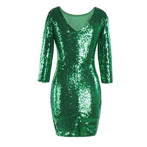 iYmitz Damen Glitzerndes Rundausschnitt Paillettenkleid Abend Minikleid Glam Pailletten Langarm Flapper Kleid(Grün,EU-36/CN-M)