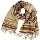 Guru-Shop Weicher Pashmina Schal/Stola, Schultertuch, Herren/Damen, Maya Muster Beige/braun, Synthetisch, Size:One Size, 200x100 cm, Schals Alternative Bekleidung