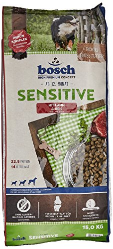 bosch Hundefutter Sensitive Lamm und Reis, 1er Pack (1 x 15 kg) Hund Huhn Und Reis