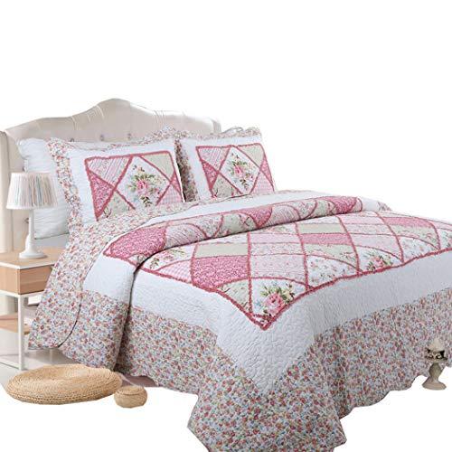 HSBAIS 100% Baumwolle Bettwäsche Set, Bettwäsche Tröster Sets mit Kissenbezügen, Königin Doppel Bettwäsche, Patchwork Patch Bettwäsche Bettwäsche,Style 1_Queen (Königin Mit Baumwolle Tröster)