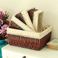 Hoobor House mestieri tradizionali Pollution-Free Hand-Preparation domestico di vimini Ware detriti serie ammettere Basket,cofani marrone fodera,n. 427*17*13cm